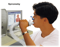 Person breathing into a spirometer.
